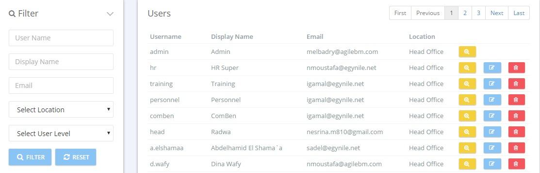 User Listing