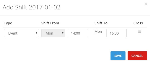 Attendance Report_Add Shift Box