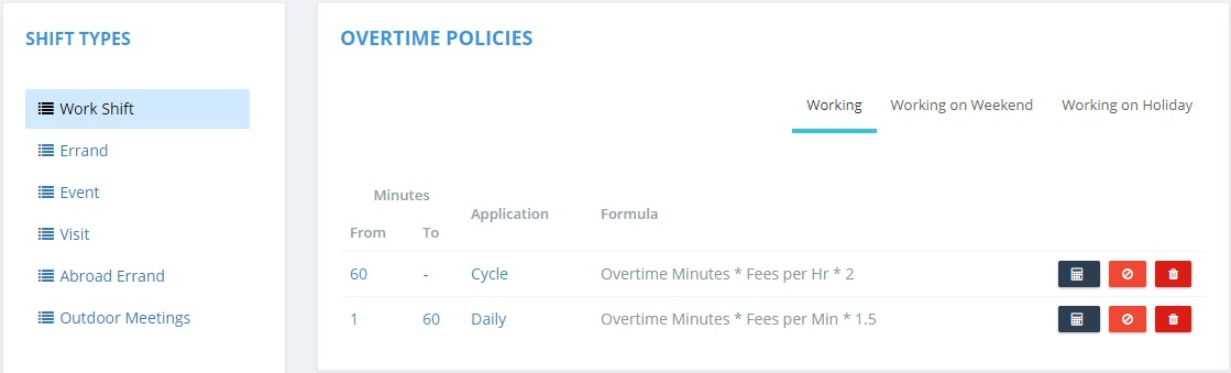 Overtime Policies Listing